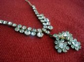 Vintage Diamante Necklace - 1940s -1950's Diamante Drop Necklace in Gold Tone Setting (sold)